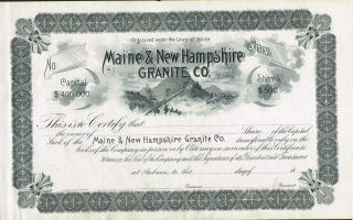 Usa Maine & Hampshire Granite Company Stock Certificate photo