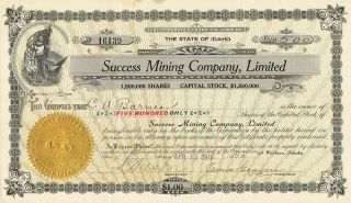 Usa Succes Mining Company Stock Certificate 1916 photo