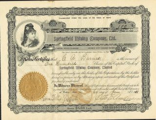 Usa Springfield Mining Company Stock Certificate 1911 photo