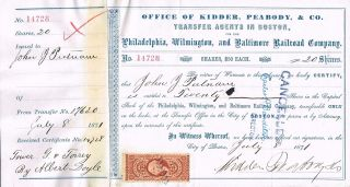 Usa Philadelphia Wilmington Baltimore Railroad Stock Certificate 1871 photo