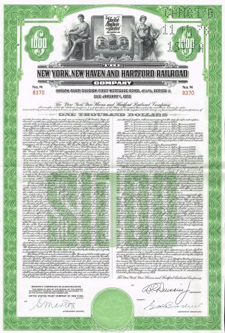 Usa Ny Hew Haven Hartford Railroad Stock Certificate photo