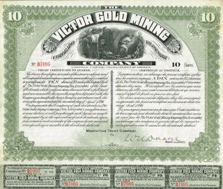 Usa Victor Gold Mining Stock Certificate 1896. . .  10 Sh Cripple Creek Colorado photo