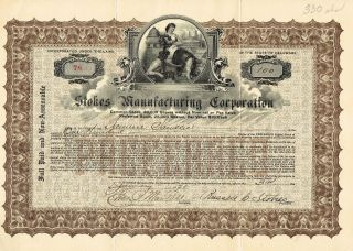 Usa Stokes Manufacturing Corporation Stock Certificate 1921 photo
