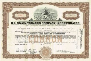 Usa R.  L.  Swain Tobacco Company Stock Certificate photo