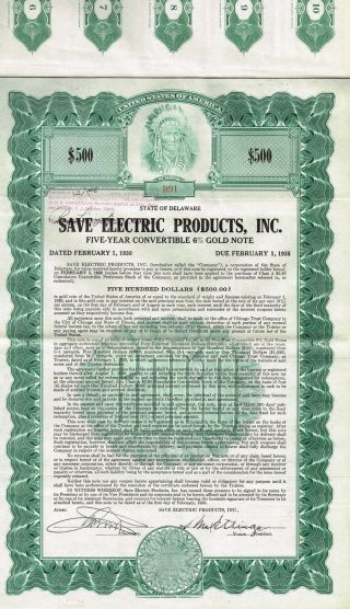 Usa Save Electric Products Gold Bond Stock Certificate 1930 photo