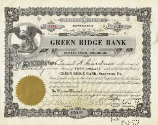 Usa Green Ridge Bank Stock Certificate 1929 photo