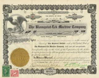 Usa Blomquist Erk Machine Company Stock Certificate 1919 photo