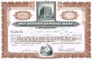 Usa Second National Bank Of Haven Stock Certificate photo