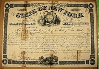 Erie Canal Bond,  State Of York,  April 17th,  1877 $2,  000.  Tape Marks photo