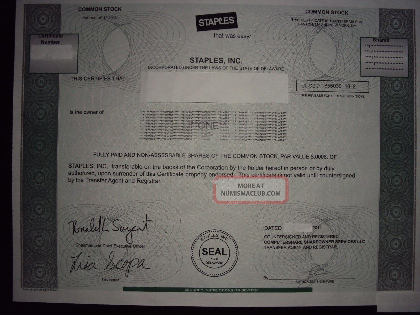 Staples Stock Certificate