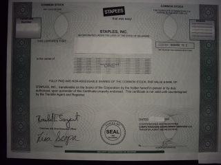 Staples Stock Certificate photo