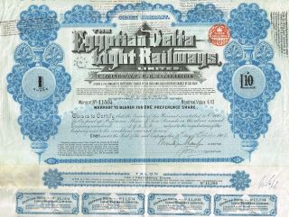Egypt The Egyptian Delta Light Railways Stock Certificate 1905 W/coupons photo