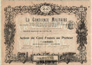 France Military Arms Company Stock Certificate 1907 With Coupons photo