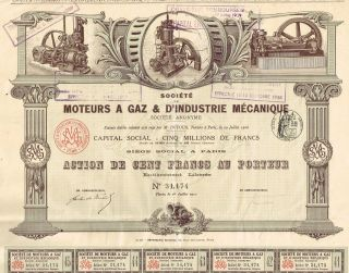 France Mechanical Gas Engine Company Stock Certificate 1912 With Coupons photo