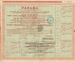 Historic Panama Canal Stock Certificate 1888 Delessep photo