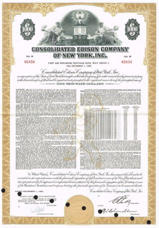 Usa Edison Company Of York Bond Stock Certificate Series X photo