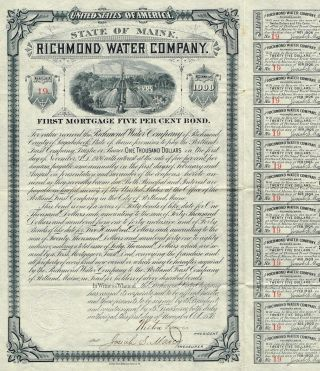 Usa Richmond Water Company Bond Stock Certificate 1886 photo