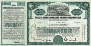 Usa Electric Power Corporation Stock Certificate With Warrant photo