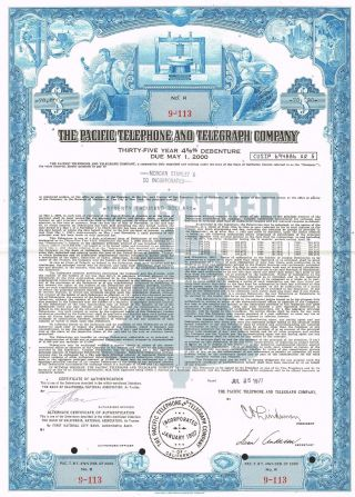 Usa The Pacific Telephone & Telegraph Stock Certificate photo