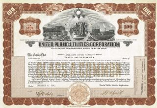 Usa United Public Utilities Corporation Stock Certificate Jersey photo