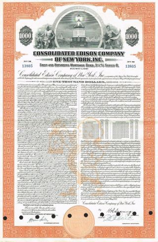 Usa Edison Company Of York Bond Stock Certificate Series G photo