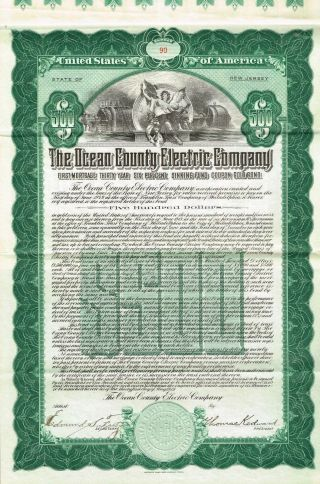 Usa Ocean County Electric Company Bond Stock Certificate 1919 $500 photo
