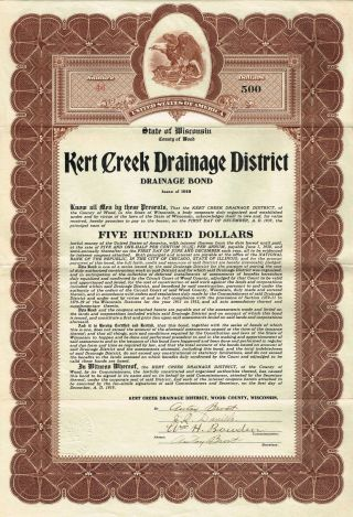 Usa Kert Creek Drainage District Bond Stock Certificate 1919 Wisconsin photo