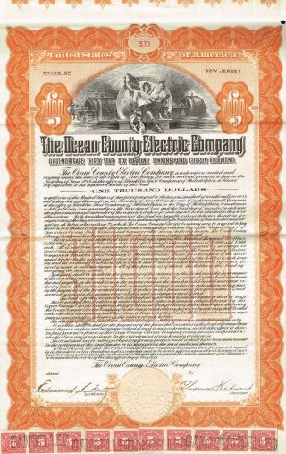 Usa Ocean County Electric Company Bond Stock Certificate 1919 $1000 photo