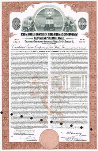 Usa Edison Company Of York Bond Stock Certificate Series H photo
