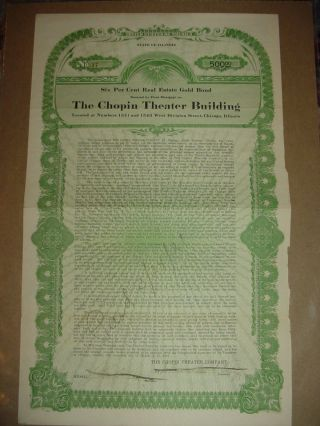 1917 The Chopin Theater Building Bond Stock Certificate Chicago Illinois photo