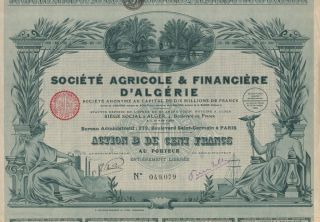 Africa Algeria Agriculture & Finance Stock Certificate 1928 photo