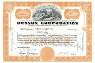 Ronson Corporation Stock Certificate 0126254 photo