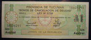 1991 Province Of Tucuman Argentina Garden Of The Republic 1 Austral Bond Sb824 photo