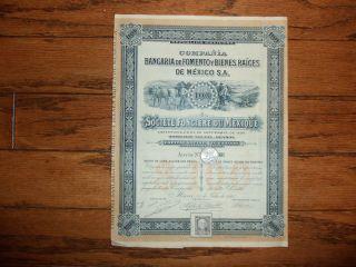 Mexican Banco De Fomento Y Bienes Raices 1910 $100 Mexico Bond Queen photo