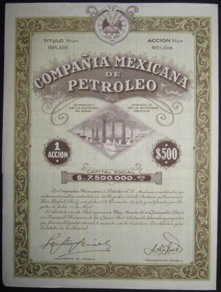 Mexico Compania Mexicana De Petroleo Share Certificate Issued 1929 +coupons photo