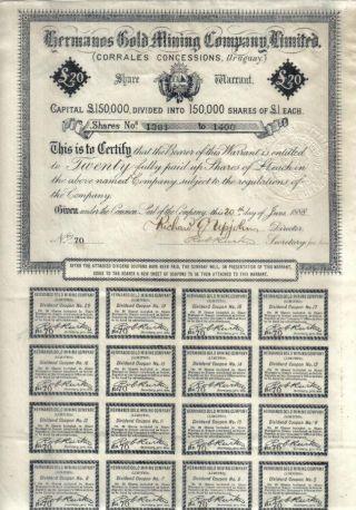 Uruguay Bond 1888 Hermanos Gold Mining Co 20 Shares £20 Uncancelled Coupons photo