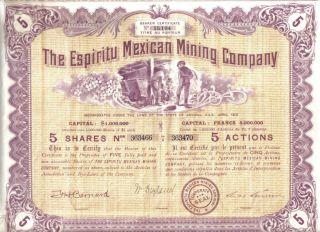 Mexico Usa 1910 Espiritu Mexican Mining Co 5 Shares $5 Uncancelled Coupons Deco photo