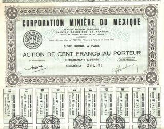 Mexico France 1923 Mining Corporation Minere Mexique 100 Fr Uncancelled Coupons photo