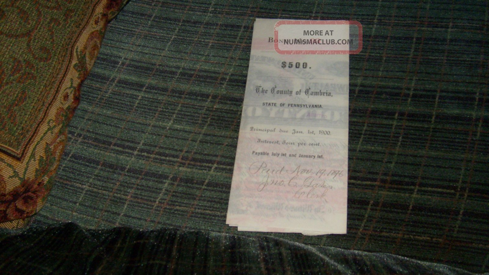 $500.  00 County Of Cambria,  Ebensburg,  Pa.  1890 Bond With Coupons Stocks & Bonds, Scripophily photo