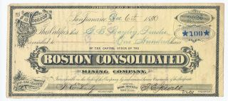 Bodie District - Boston Consolidated Mining Company Stock Certificate,  1880 photo