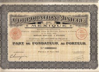 France Mexico 1923 Bond Corporation Minning Founder Uncancelled Coupons photo