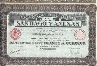 France Mexico 1925 Bond Minning Santiago Anexas Co 100 Fr Uncancelled Coupons photo