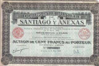 France Mexico 1928 Bond Minning Santiago Anexas Co 100 Fr Uncancelled Coupons photo