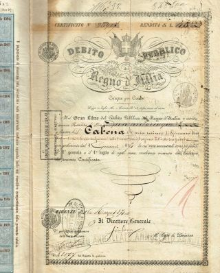 Kingdom Of Italy Public Debt Bond Stock Certificate 1871 photo
