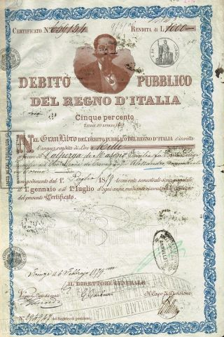 Kingdom Of Italy Public Debt Bond Stock Certificate 1879 photo