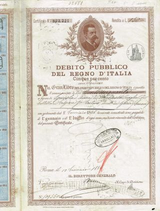 Kingdom Of Italy Public Debt Bond Stock Certificate 1886 photo
