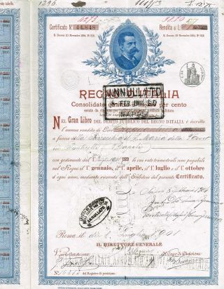 Kingdom Of Italy Public Debt Bond Stock Certificate 1901 photo