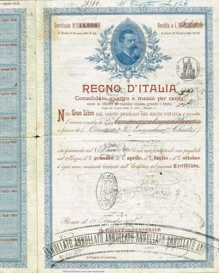 Kingdom Of Italy Public Debt Bond Stock Certificate 1896 photo