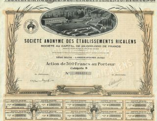 France Fabric Company Stock Certificate 1928 Etablissements Ricalens photo