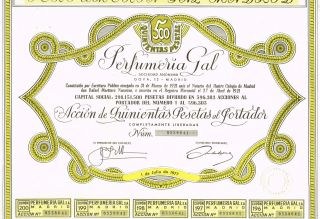 Spain Perfume & Lip Balm Company Stock Certificate Perfumeria Gal photo